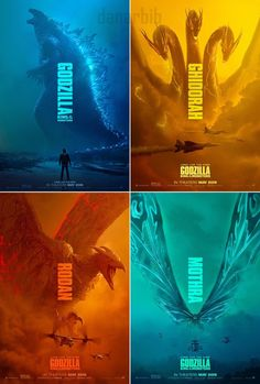 Godzilla King of the Monsters Set of 4 Posters 2019 Print Silk King Kong Vs Godzilla, Godzilla 2, All Godzilla Monsters, Godzilla Wallpaper, Movie Poster Art, American Horror Story, Good Movies, Poster Prints, Art Print