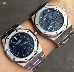 Audemars Piguet Royal Oak 15202 Jumbo Blue Dial & Dual Time Steel Blue Dial