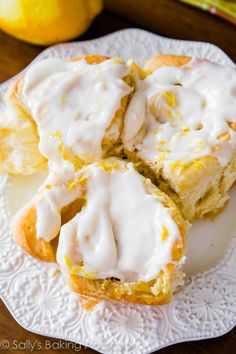 Lemon Sweet Rolls covered in a simple lemon cream cheese frosting. These rolls use my quick sweet roll dough – only 1 rise!