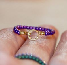 Stackable Thin Ring Purple Beaded Ring Circle 14k Gold