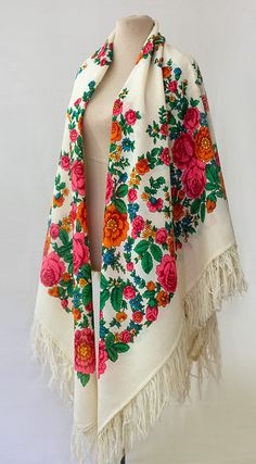 "This is a beautiful vintage Russian shawl designed by Valentina Taranenko and produced by Pavlovo Posad Manufacture. It is called ""Danube's Floral Garland"""