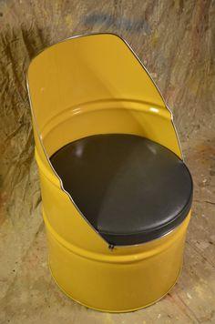 Industrial muebles silla barril con vinilo acolchado asiento.