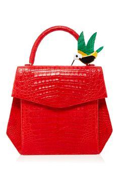Matte Crocodile Structured Bag & Crocodile Hummingbird Clip by NANCY GONZALEZ for Preorder on Moda Operandi