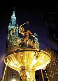 The Neptune Fountain in Gdańsk, Poland Gdansk Poland, Central And Eastern Europe, Adventure Photos, Danzig, Vacation Spots, Statues, Fountain, Photo Galleries, Places To Visit