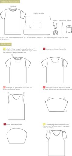 Tshirt with regular sleeves made into cap sleeves