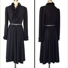 Lady Carol / Sz M vintage 70s dress black ruffles disco cocktail sequins / bythesidewalkrunway on eBay