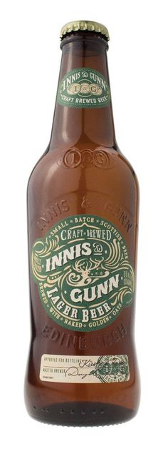 Innis & Gunn craft beer bottle packaging. Ornate typography & pattern.