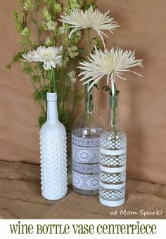 Wine Bottle DIY Crafts - Boho Wine Bottle Vases - Projects for Lights, Decoration, Gift Ideas, Wedding, Christmas. Easy Cut Glass Ideas for Home Decor on Pinterest http://diyjoy.com/wine-bottle-crafts