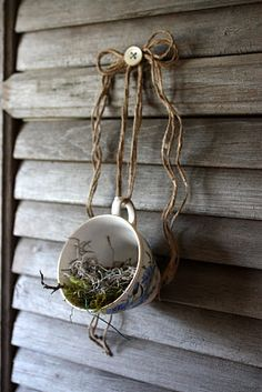 Take note of the button covering the nail hanger! (could put a tea light candle instead of moss and create a grouping of these.)