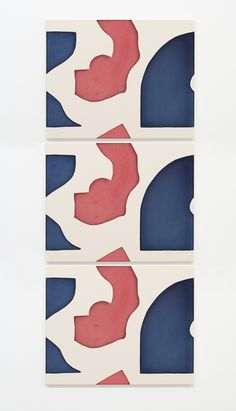 Landon Metz, Untitled (Red Blue), 2016, Dye on canvas, 84x105 cm each, Tryptic