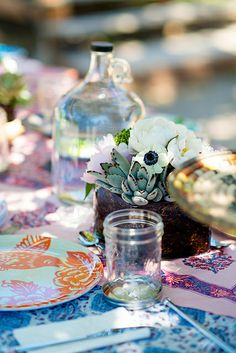 dressed up picnic table.