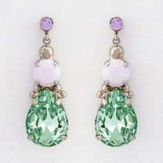 Mint Julep Teardrop Earrings joined by pink alabaster & a hint of violet.  Perfect everyday sparkle for Spring! Sorrelli cupcake collection. $64