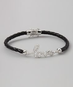 Black Leather 'Love' Bracelet