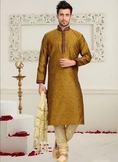 Mustard Art Silk Mens Sherwani   #wedding sherwani #mens wear #chennai online #trendy designs #latest designs of dresses #new trends #dresses in online #dresses for offers