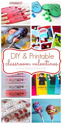 DIY Printable Classroom Valentines from Classyclutter.net Featured @ www.partyz.co your party planning search engine!