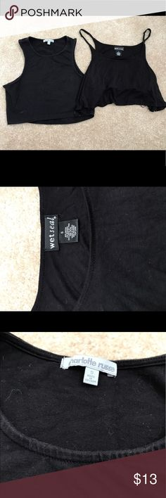 2 Black Crop Tops S XS Charlotte Russe top on left, a little more worn but still good condition, whitish you see at bottom left is just deodorant and should come out. 95% cotton and 5% spandex material shown in last photo.  Wet seal flowy top on right good condition, nice and black with built in elastic shelf 95% rayon 5% spandex material shown in 5th photo  Both are size S juniors so should fit like XS-S I will use a lint roller to clean up fuzzies/hair before sending. Wet Seal Tops Crop…