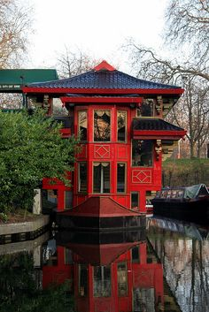 .Chinese houseboat on the Regent's Channel, London UK