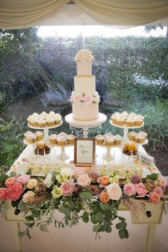 As the warmer months are approaching we wanted to provide an inspirational guide to making marquees simply spectacular! Wedding Cupcake Table, Dessert Bar Wedding, Wedding Cupcakes, Wedding Table, Wedding Snacks, Wedding Desserts, Wedding Decorations, Buffet Dessert, Beaux Desserts