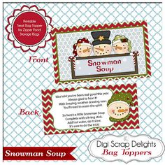 Snowman Soup Printable Bag Topper - Gifts for Neighbors,  Sunday School or Party Favors, Red, Green Chevron Instant Download  #scrapbooking #christmas #cheer #digital #digiscrapdelights