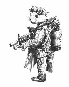 Art Sketches, Art Drawings, Character Art, Character Design, Inktober, Estilo Disney, Military Drawings, Desenho Tattoo, Cyberpunk Art