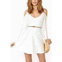 Yoins White Cut-Out Slim Fit Dress ($18) ❤ liked on Polyvore featuring dresses, white, cutout shoulder dresses, slimming dresses, white day dress, slim fit dress and white dress