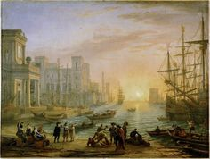Claude GELLEE - Port de mer au soleil couchant - 1639 - Louvre (pendant de La Fête villageoise)