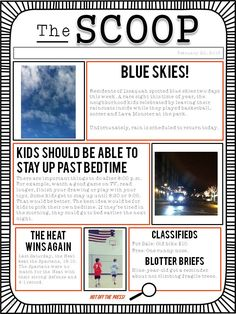 A student newspaper template to use for class writing projects, or as a family project at home. Print the blank PDF template for students to write on, or edit the PowerPoint version. (Free)