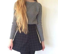 Crop knitted sweater top skater skirt