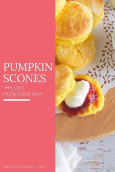 Looking for a recipe for pumpkin scones the old fashioned way (just like CWA pumpkin scones)? Stop here - no mixer required easy pumpkin scone recipe. Baking Recipes, Dessert Recipes, Fire Cooking, Pumpkin Pancakes, Eat Lunch, Savory Snacks, No Bake Treats, Pumpkin Recipes, Tray Bakes