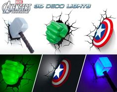 You can buy these at Target: Marvel Avengers 3D Wall Lights | Craziest Gadgets