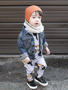 How cute is this little hip fella?! The penguin matching tee and bottoms are utterly adorable and accented by his orange beanie.