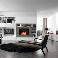 I like the bookshelves  Modern Fireplace Design, Pictures, Remodel, Decor and Ideas - page 9