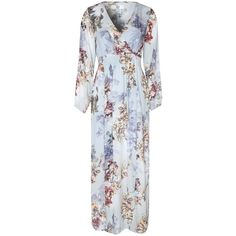 True Decadence Printed Maxi Dress, Dusty Lilac ($62) ❤ liked on Polyvore featuring dresses, long wrap dress, long-sleeve mini dress, floral print maxi dress, long sleeve maxi dress and floral maxi dress