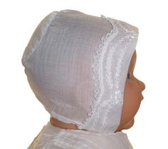 Heirloom Edwardian Batiste Baby Bonnet with Tatting and Embroidery $75.00