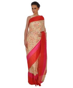Cream and Red Pure Silk Banarasi Zari and Meenakari Saree