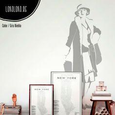 #ViniloDecorativo de estilo vintage de una mujer / Vintage style #WallSticker of a woman #VinilosDecorativos #WallDecals