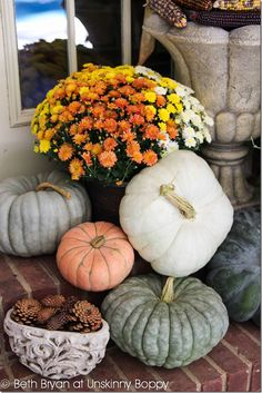 Stacks of pumpkins for fall Porch Decor