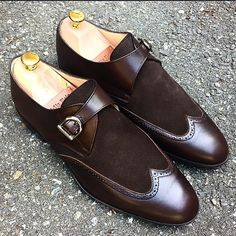 Men,s Hand Stitched Monk Suede Leather Shoes Brown Shoes Men Dress Shoes - Dress/Formal