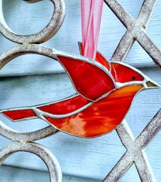 Red Cardinal 3D Stained Glass Bird - Garden Decor