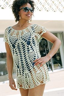 Constructed from the top down, shapely columns separating graceful crochet pineapple patterns create a piece that moves elegantly from bathing-suit cover-up to a crochet top that looks great with a skirt or slim capris.
