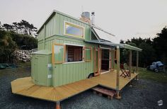 SOLAR-POWERED tiny house on wheels with Custom Stairs, a built-in Deck designed and built by Jeff Hobbs, a boat builder and cabinet maker, for his client in New Zealand. Off Grid Tiny House, Tiny House Living, Tiny House Plans, Tiny House On Wheels, Cabana, Tiny House Movement, Small Places, Tiny Spaces, House Built