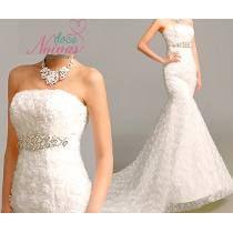 Vestido De Noiva Sereia Civil Cinto Lavinia Pronta Entrega