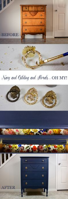 Transforming a dresser with chalk paint, gold leaf, and floral gift wrap!...