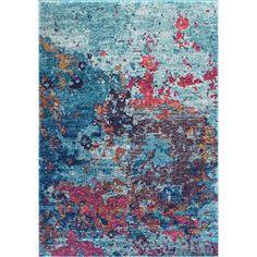 BosphorusAbstract Splatter Seascape BD45 Rug ($60) ❤ liked on Polyvore featuring home, rugs, flokati shag rug, braided rugs, shag area rugs, braided area rugs and shag rug