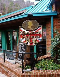 Sherlock Holms Pub - British pub located in Gatlinburg, Tennessee - nooo waaayyyy! Gatlinburg Attractions, Gatlinburg Vacation, Gatlinburg Tennessee, Tennessee Vacation, Tennessee Cabins, Gatlinburg Cabins, Mountain Vacations, Dream Vacations, Vacation Spots
