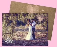 Remerciement mariage vintage avec une belle photo de votre couple pour remercier vos proches pour tous ces souvenirs, réf.N11168