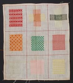 I see some quilty inspiration in this Antique Dutch Darning Sampler c.1900.