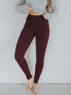 NEW High Waisted Wine Leggings! These are slimming, flattering, comfortable and the BEST winter color! Hurry and grab these for the holidays! They make great gifts :) | @albionfit