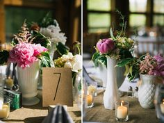 Pretty table scape (for indoors, would have clear outdoors) Rainy Summer Camp Wedding