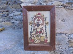 Antique Postcard of Lord Brahma with a Swan in an Antique Wooden frame. by Lallibhai on Etsy